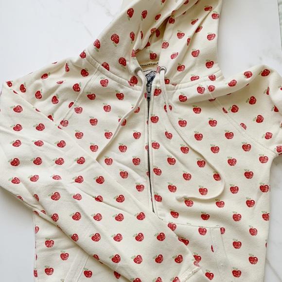 PINK Victoria's Secret Tops - Apple Print Fleece Hoodie
